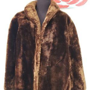 Vintage real Mouton Fur Coat Brown Petite Large